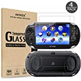 (4-Pack) Screen Protectors for Sony Playstation Vita 1000 with Back Covers, Akwox 9H Tempered Glass Front Screen Protector an