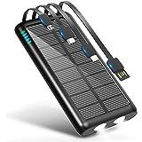 モバイルバッテリー ソーラー 大容量 31200mAh 急速充電 【 Type-C出力ポート付き & 2個高輝度LEDライト付き 】 4ケーブル内蔵(Lightning+Micro USB +Type-C+USB-A) スマホ充電器 ソーラーモバイル