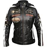Royal You Ladies Retro Biker Badges Logos Style Motorcycle Woman Leather Jacket with Detachable Hood Black