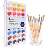 Watercolor Cake Set, 36 Watercolor Paint Set and 12 Paint Brushes. This Watercolors Set are Great for Children/Kids. The Perf