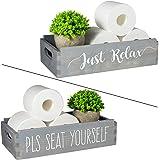 TJ.MOREE Please Seat Yourself/Just Relax Bathroom Decor Box Home Decor Mason Jars and Artificial Flower Box Farmhouse New Hom