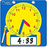 "Educational Teaching Clock | Large 12"" Demonstration Learning Time Clock with Erasable Writing Surface to Teach Time"