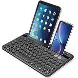 Jelly Comb Bluetooth キーボード 2台同時接続可能 充電式 ポータブル 丸みキー 打ち心地良い コンパクト 英語配列 薄型 パンタグラフ式 ラップトップ iPad/Mac/Android/Windows