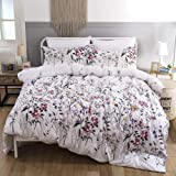 Bonenjoy White Color Bedding Set,King Size Flower Printed Quilt Cover Bed Linen Set, with Pillowcase Floral Double Bedding|Be