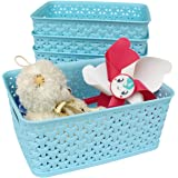 Honla Weaving Plastic Storage Baskets/Bins Organizer with Handles,Set of 4,Blue