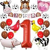 Farm Animal 1st Birthday Party Supplies Decorations Animal Mylar Balloons One Banner for Barnyard First Birthday Decor