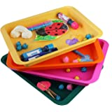 Activity Plastic Tray - Art + Crafts Organizer Tray, Serving Tray, Great for Crafts, Beads, Orbeez Water Beads, Painting (Set