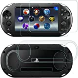 Screen Protectors for Sony PlayStation Vita 2000 with Back Covers, AFUNTA 2 Pack (4 Pcs) Tempered Glass for Front Screen and