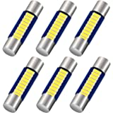 Shuyee 6PCS 28mm 29mm 6614F Festoon LED Car Bulb, Extremely Bright 9-SMD 4014 chips 6641 6612F LED Bulb, Fit for Vanity Mirro