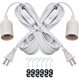 JACKYLED Extension Hanging Lantern Cord Cable 2-Pack 20ft UL Listed 360W with E26 E27 Socket On/Off Button Pendant Lighting