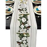Burlap Linen Table Runner - 120 Inch Long, Spring Magnolia Green Leaves Line Kitchen Dining Table Runner Dresser Scarves, Ret