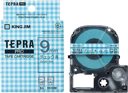 キングジム テープカートリッジ テプラPRO  SWX9BH チェック青 グレー文字