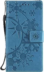 Xperia XZ/XZs ケース手帳型 OMATENTI レザー 革 薄型 財布型カバー カード入れ スタンド機能, 全面保護 おしゃれ 手帳ケース, 液晶保護 Sony Xperia XZ/XZs対応, 青い