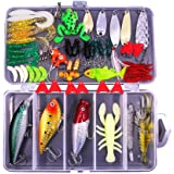 77-Pcs Fishing Lures Kit Set For BassTroutSalmonIncluding Spoon Lures Soft Plastic worms CrankBaitJigsTopwater Lures (with Fr