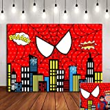 Red Spider Web Photography Backdrop Baby Shower Photo Booth Studio Props Supplies Super Heros Cityscape Photo Background Viny