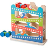 Melissa & Doug 30130 First Play Roll & Ring Ramp Tower (Cars and Vehicles, 2 Wooden Cars, 32.0675 cm H x 11.1125 cm W x 28.25