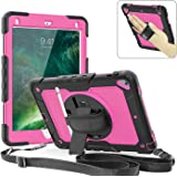 iPad Pro 9.7 Case, 360 Degrees Rotate Hand Controlling Case with Built-in Stand Screen Protector, Full-Body & Shock Proof Hyb
