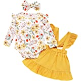 Baby Girl Clothes Set Toddler Long Sleeve Romper Tops Suspender Skirt with Cute Haedband 3Pcs Overalls Infant Girl Outfit Set