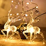 Christmas Lights Reindeer String Lights - 5 ft 10 LED Warm White Battery Operated Christmas Decorations for Bedroom Mantel Do