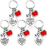 5 Pieces Teacher Apple Keychain for Women Men Teacher Appreciation Gifts Thank You Gift Heart Charm Jewelry Keychains Set