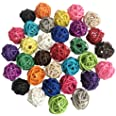 Benvo Rattan Balls 32 Pack 1.2 inch Wicker Ball Birds Toy Parrot Parakeet Chewing Toys Pet Cage Bite Toys Decorative Ball Orb