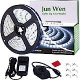 JUNWEM 16.4ft Flexible LED Light Strip Kit 300 Units SMD 2835 LEDs 12V LED Tape Ribbon with UL Listed Power Supply for Home/K