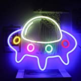 ineonlife UFO Spaceship Neon Signs Neon Lights UFO LED Neon Sign Lights Wall Art Large Blue Colorful Neon Night Light for Kid