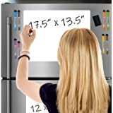 Premium Magnetic Dry-Erase Whiteboard Sheet for Kitchen Fridge (2-Pack: S+L) | Free Bonus - 4 Markers (8 in Total + Eraser) |