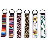 Chapstick Holder Keychain, Neoprene Lip Balm Keychain Holder, 6 Different Vibrant Prints Lip Blam Keychain (Multicolor 6 Pack