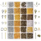 Paxcoo 2880 Pcs Jewelry Making Findings Supplies Kit with Open Jump Rings Lobster Clasps Crimp Beads Screw Eye Pins Head Pins