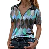 Womens V Neck Zip Tops Casual Square Printed Summer Short Sleeve T-Shirt Pullover Tunic Tee Shirts