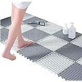 24pcs Interlocking Rubber Floor Tiles with Drain Holes DIY Size 11.8 x 11.8 in Splicing Bathroom Shower Non-Slip Floor Tiles