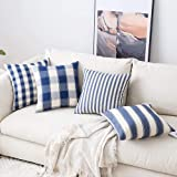 MIULEE Pack of 4 Decorative Farmhouse Throw Pillow Covers Buffalo Check Stripe Pillowcases Cotton Linen Cushion Case for Couc