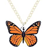 NEWEI Acrylic Floral Butterfly Necklace Chain Pendant Collar Fashion Summer Spring Insect Jewelry for Women Girl Gifts Charm