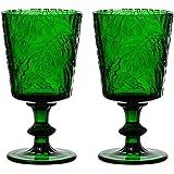 Jomop Handmade Pressed Colored Crystal Stemmed Wine Glasses Set Green (2, Wine Goblet)