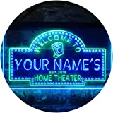 Personalized Your Name Est Year Theme Home Theater Cinema Dual Color LED Neon Sign Green & Blue 300 x 210mm st6s32-ph2-tm-gb