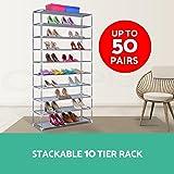 50 Pair 10 Tier Shoe Rack Stackable Storage Holder Metal Fabric Steel Cabinet