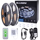 ollrieu Dimmable LED Strip Lights Waterproof,16.4ft/5m Daylight White Outdoor Lighting with RF Remote Control 12V UL Power Su