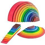 MerryHeart Wooden Rainbow Stacker Set - Rainbow Stacking Toy Set with Rainbow Stacker, Semicircle, Building Board - Waldorf W