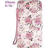 iPhone 6 ケース 可憐な バラ の 花柄 手帳型 ケース / 手触りの良い 凹凸 シボ材質 / Pink の ストラップ付き / 2層 カードホルダー / スタンド 機能 / スマホの脱着が容易な 耐衝撃 TPU 材質 ホルダー / 星型 イヤホン ケーブル バインダー 同梱 / iphone6 ケース 人気 の アイホン6 ケース アイホン6 カバー 人気 の アイフォン6 ケース ブランド アップル アイフォン6 カバー アイフォーン 6 ケース ストラップホール 付 携帯 ケース スマホ カバー apple iphone 6  (G1バラの花柄 )