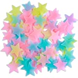 Amaonm? 100 Pcs Colorful Glow in the Dark Luminous Stars Fluorescent Noctilucent Plastic Wall Stickers Murals Decals for Home