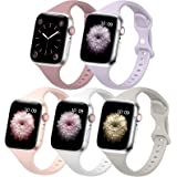 5 PACK Slim Band Compatible with Apple Watch Band 38mm 40mm 42mm 44mm for Women Men, Thin Narrow Soft Silicone Replacement St