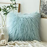 MIULEE Decorative New Luxury Series Style Faux Fur Throw Pillow Case Cushion Cover for Sofa Bedroom Car 16 x 16 Inch Light Bl