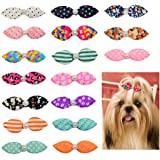 10pcs/Pack Mix Colors Dog Hair Clips Pearls Centre Pet Dog Grooming Bows Supplies Pet Hair Clips Teddy Exquisite Rabbit Ears