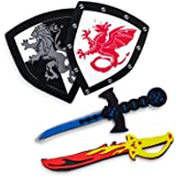 Children's Foam Toy Medieval Joust Dual Dragon Sword & Shield Knights Set Lightweight Safe for Birthday Party Activities Even