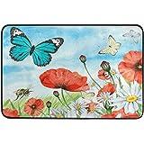 Pfrewn Poppy Daisy Field Butterfly Door Mats Spring Summer Flowers Bee Floor Mat Indoor Outdoor Entrance Bathroom Doormat Non