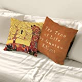 SANGSANGHOO Gustav Klimt Tree of Life Pillow Cover 18x18 Zippered Cushion Cover for Room Decoration