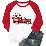 FLOYU Vanlentine Day T Shirts Women Red Buffalo Plaid Truck Graphic Print Love Raglan 3/4 Baseball Tee Tops