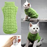 Bolbove Cable Knit Turtleneck Sweater for Small Dogs & Cats Knitwear Cold Weather Outfit (Green, X-Small)
