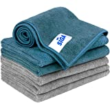 """MR. SIGA Microfiber Cleaning Cloth, Grey, Teal, Pack of 6 - 13.8"""" x 15.7"""""""